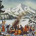 Christmas Card Depicting A Pioneer Christmas by American School