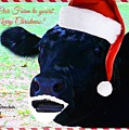 Christmas Cow Greeting by Cheryl A Beaudoin