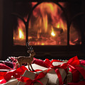 Christmas Gifts By The Fireplace by Amanda Elwell