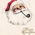 Christmas Greetings 1229 - Vintage Christmas Cards - Santa Claus With Pipe by TUSCAN Afternoon