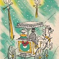 Christmas Illustration 1218 - Vintage Christmas Cards - Horse Drawn Carriage by TUSCAN Afternoon
