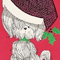 Christmas Illustration 1219 - Vintage Christmas Cards - Little Dog With Chrismtas Hat by TUSCAN Afternoon