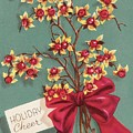 Christmas Illustration 1228 - Vintage Christmas Cards - Holiday Cheer - Flowers by TUSCAN Afternoon