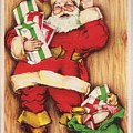 Christmas Illustration 1230 - Vintage Christmas Cards - Santa Claus With Christmas Gifts by TUSCAN Afternoon