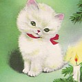 Christmas Illustration 1245 - Vintage Christmas Cards - Little Dog Near To Christmas Candle by TUSCAN Afternoon