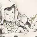 Christmas Illustration 1248 - Vintage Christmas Cards - Infant Jesus On Crib by TUSCAN Afternoon