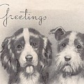 Christmas Illustration 1252 - Vintage Christmas Cards - Two Dogs by TUSCAN Afternoon
