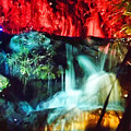 Christmas Lights At The Waterfall by D Hackett