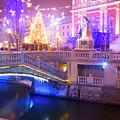 Christmas Lights In Preseren Square In Ljubljana by Ian Middleton