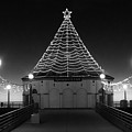 Christmas Lights On Manhattan Pier B And W by Michael Hope