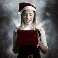 Christmas Present Girl Opening Magic Gift Box by Jorgo Photography - Wall Art Gallery
