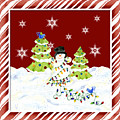 Christmas Snowman W Lights N Trees Snowflakes Candy Cane Stripes Whimsical by Audrey Jeanne Roberts