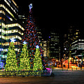 Christmas Tree On New Year's Eve In The Street Of A Big City by Viktor Birkus