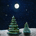Christmas Trees In The Moonlight by Nancy Mueller