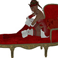 Christmas Woman On Couch by Corey Ford