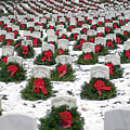 Christmas Wreaths Adorn Headstones by Stocktrek Images