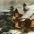 Church And Cottage With Lighted Windows by English School