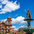 Church And Fountain In Cusco Peru by Jess Kraft