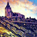 Church Dominant With Decorative Historical Staircase, Graphic Work From Painting. by Jozef Klopacka