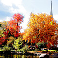 Church In The Distance In Autumn by Susan Savad