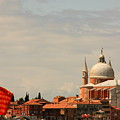 Church Of The Redentore In Venice With Flag Of Venice by Michael Henderson