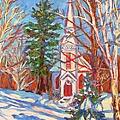Church Snow Scene by Kendall Kessler