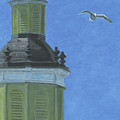 Church Steeple With Seagull by Dominic White