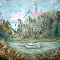 Church With Boat In River by Joseph Sandora Jr