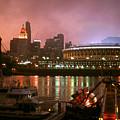 Red Sunset Sky In Cincinnati Ohio by Peter Potter