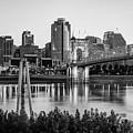 Cincinnati Skyline Art Print - Black And White by Gregory Ballos