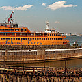 City - Ny - The Staten Island Ferry - Panorama by Mike Savad