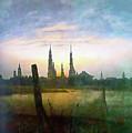 City At Moonrise by Media Impasto Paper