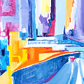City At Waters Edge by Expressionistart studio Priscilla Batzell