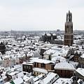 City Centre Of Utrecht With The Dom Tower In Winter by Merijn Van der Vliet