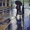 City Evening Rain by Carlos Herrera