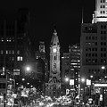 City Hall - Black And White At Night by Bill Cannon