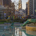 City Hall Reflecting In Swann Fountain by Bill Cannon