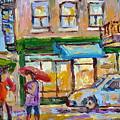 City In The Rain Late Afternoon At Bakery Rue St Viateur Montreal Canadian Art Carole Spandau        by Carole Spandau