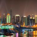 City Lights Of Chongqing Skyline by Fototrav Print