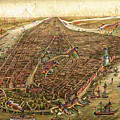 City Map New York Manhattan 1870 Deep Dream by Matthias Hauser