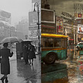 City - Ny - Times Square On A Rainy Day 1943 Side By Side by Mike Savad