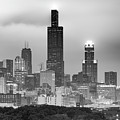 City of Chicago Skyline Black and White by Gregory Ballos