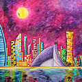 City Of Dubai Pop Art Original Luxe Life Painting By Madart by Megan Duncanson