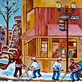 City Of Montreal St. Urbain And Mont Royal Beautys With Hockey by Carole Spandau