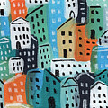 City Stories- Blue And Orange by Linda Woods