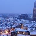 Cityscape Of Utrecht With The Dom Tower  In The Snow 13 by Merijn Van der Vliet