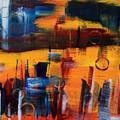 Cityscape On Orange by Brad Rickerby