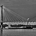 Clark Bridge And Barges In Black And White  by Buck Buchanan