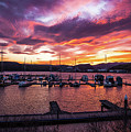 Clarkston Marina At Sunset by Marcia Darby