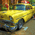 Classic 56 Chevy Car Yellow  by Rebecca Korpita
